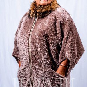 дамски луксозен кожух с енот и кьорлих в цвят бежов