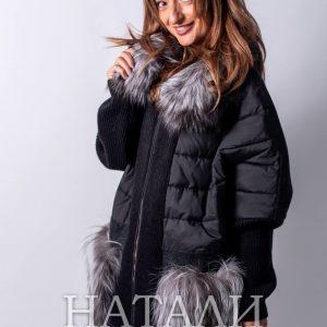 дамско черно палто от натурална алпака с богата яка от сребърна лисица