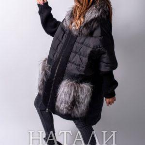 черно зимно дамско палто от алпака с богата яка от сребърна лисица