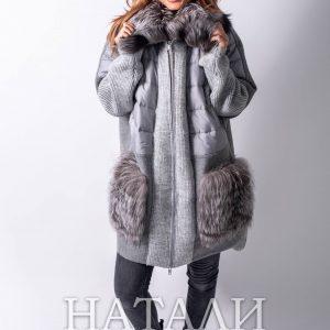 дамско сиво зимно палто от алпака със богата яка и джобове от сребърна лисица