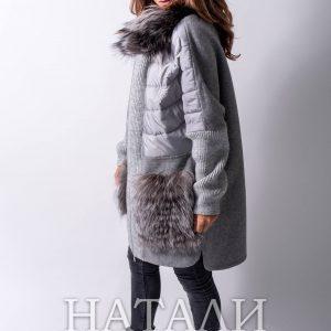 уникално зимно палто от алпака със сребърна лисица в сив цвят