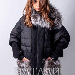 зимно черно дамско палто от алпака с богата качулка от сребърна лисица