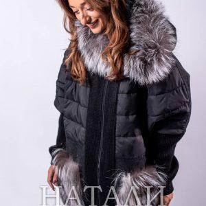 дамско черно зимно палто с качулка от алпака и сребърна лисица